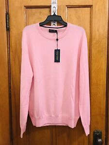 Ralph Lauren Polo Golf Ivy Club2 wool crew neck sweater pink NWT size L $178.00