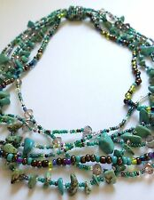 """18"""" Czech Glass Bead TURQUOISE MULTI-COLOR PASTELS Strand Bead Collar NECKLACE"""