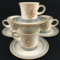 Set of 4 VTG Cups and Saucers by Noritake Autumn Day Stoneware 8353 Japan