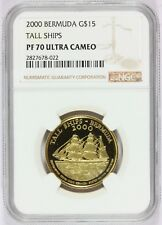 2000 Bermuda $15 Tall Ships Gold Proof Coin - NGC PF 70 UCAM - Mintage 1,500