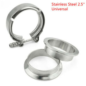 2.5 inch Stainless Steel V-Band 2 Flange & Clamp Kit For Turbo Exhaust Downpipe
