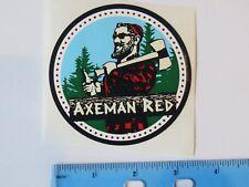 Beer Breweriana STICKER ~ BACKSIDE Brewing Co Axeman Red Ale ~ Roseburg, OREGON