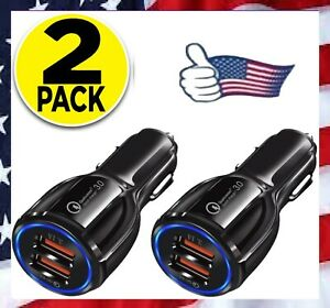 2 PACK 2 Port USB Fast Car Charger Dual For Apple iPhone Samsung Galaxy Android