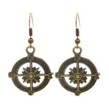1 Pair Vintage Bronze Metal Compass Charm Dangle Hook Earrings Accessories