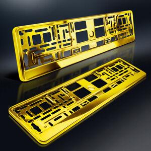 2 Kennzeichenhalter | GELB GOLD | Chrom Look | Metallic Hochglanz | DHL-Versand