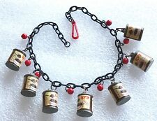 Vintage pop art early plastic Israeli advertising coffee substitute can necklace