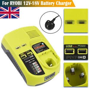P117 Charger for Ryobi ONE+ Plus P108 Dual Chemistry Battery 12V-18V UK Plug