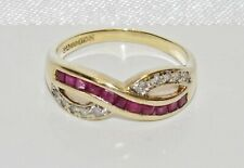 9ct Gold Ruby & Diamond Crossover Eternity - size M