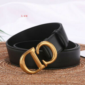 2021 New Fashion Luxury design Gold buckle Genuine Leather Belt for women