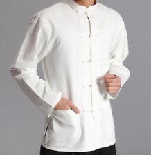 Mens Long Sleeve Kung Fu Tai Chi Tops Cotton Casual Shirt Chinese Style Sz M-4XL