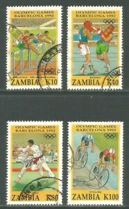 Zambia 1992 Summer Olympic Games--Attractive Sports Topical (582-85) fine used