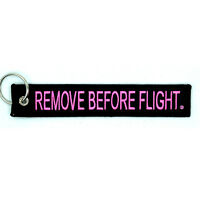 Remove Before Flight Key Chain Black & Pink aviation truck motorcycle pilot