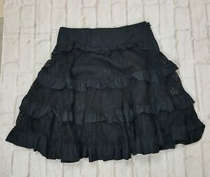 Libertine For Target Skirt Womens Size 5 Tiered Black Lace Ruffle A-Line
