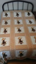 "Handmade Machine stitched Quilt. Sunbonnet Sue Applique. 100"" x 85"""