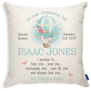 Personalised Baby Boy Christening Gift Cushion Cover Godparents Pillow KC98