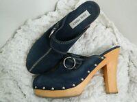 Steve Madden Faris Black Mule Clog Heels Wooden Heel Studded Women's Size 8  .