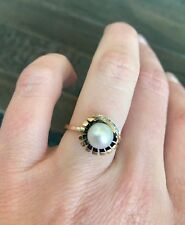 Vintage 14k Gold Pearl & Diamond Ring - Size 6.5 - Unique LOOK