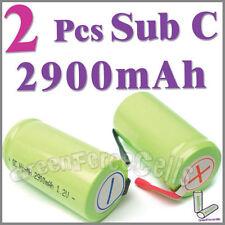 2 x SubC Sub C 2900mAh Ni-MH Rechargeable Battery w/Tab Green