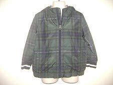 baby GAP BOYS HOODED JACKET COAT TOP LONG SLEEVE size 4 4T GREEN BLUE CHECKS