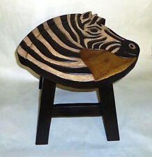 "Footstools - ""African Safari"" Wooden Zebra Footstool - Zebra Foot Stool"