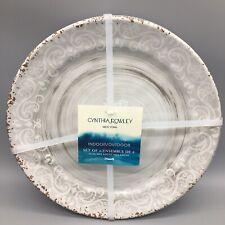 x6 Cynthia Rowley Gray Melamine Dinner Plate Set Rustic Medallion Swirl Tuscan