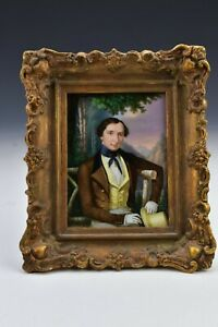 Austrian Miniature Portrait Painting on Porcelain of Gentleman Atr. Josef Zasche