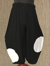 myo- Lagenlook Pantalone in Jersey Nero -Bianco pois taglia unica 88CM GIROVITA