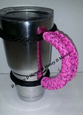 Paracord Handle for 40oz, 30oz, or a 20 Yeti, Ozark & Rtic. Pink & black Spec