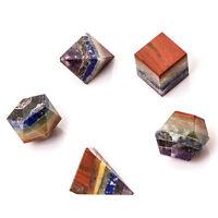 7 Chakra Bounded 5 Piece Platonic Reiki Healing Crystal Sacred Geometric Set