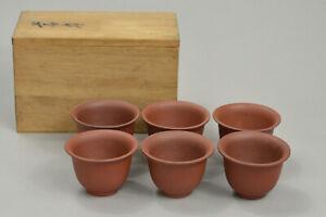 6pcs Chinese Yixing Zisha Unglazed Clay Tea Cups Sencha Utensils Japanese Boxed