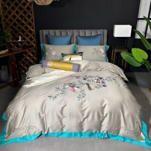 Egyptian Cotton Bedding Set Flowers Bird Embroidery Cover Flat Sheet Bed 4pcs
