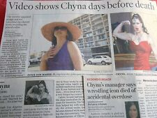 WRESTLING ICON CHYNA DIED OF OVERDOSE 2 NEWSPAPER ARTICLES CLIPPINGS