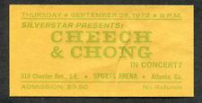 1972 Cheech & Chong unused full concert ticket Sports Arena Atlanta GA Big Bambu