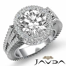 Halo Pre Set Round Diamond Elegant Engagement Ring GIA G VS1 18k White Gold 4ct
