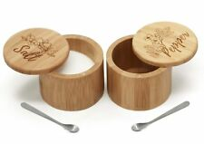 Bamboo Salt & Pepper Box Set with Salt Spoons