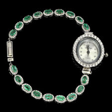 Plate 925 Sterling Silver Watch 7.5in Unheated Oval Emerald 5x3mm Cz White Gold