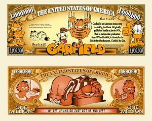 Garfield the Cat Million Dollar Bill Play Funny Money Novelty Note +FREE SLEEVE