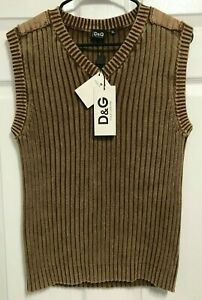 D&G Dolce & Gabbana Ittierre Women's Brown Sleeveless V Neck Sweater XL NEW TAG