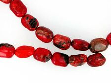 Red chalk turquoise nuggets 14x16mm