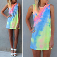 Women Tie Dye Summer Beach Dress Casual Bikini Cover Up Sleeveless Mini Sundress
