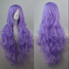 Women Long Curly Wavy Hair Purple Wig Fashion Costume Party Anime Cosplay 80cm