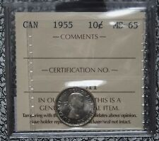 1955 CANADA - 10 CENTS SILVER - ICCS Graded MS - CHBU - Some Tone - NCC