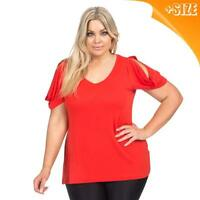 New Ladies Plus Size Autograph Red Cold Shoulder Top T Shirt Blouse Size 14-26