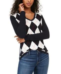 MSRP $70 Tommy Hilfiger Colorblocked Argyle Sweater Blue Size Medium NWOT