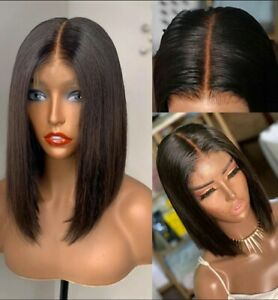 10A Grade 100% Brazilian human hair 2*6 lace  closure Bob wig straight 12inches