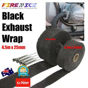 Exhaust Wrap Motorbike Motorcycle Bike Black 4.5m x 25mm Harley Heat Wrap