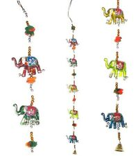 Indian String of 5 Elephant Wall Hanging Mobile Lucky Bell Charm Puppet Handmade