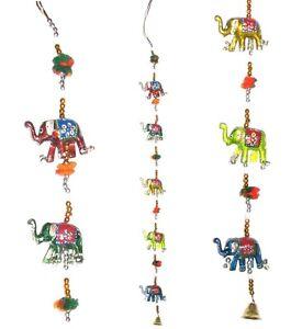 2 Indian Elephant Mobile Lucky Elephants Wallhanging Handmade Charm Puppet