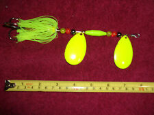 Tandem blade Muskie/Musky/Pike Spinner in chartreuse color