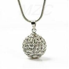 Silver Plated Crystal Ball Glitter Necklace & Pendant witth 16 in Snake Chain
